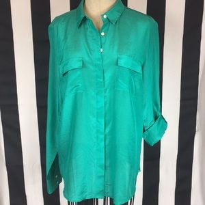Ann Taylor silk button up blouse green sz 8